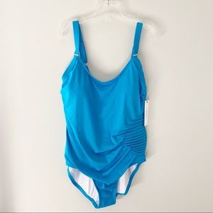 Calvin Klein Shirred Turquoise One Piece Swimsuit